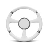 White Steering Wheel on white background