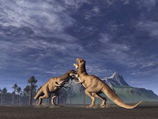 lucha de tiranosaurios
