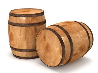 3d Barrels on white background