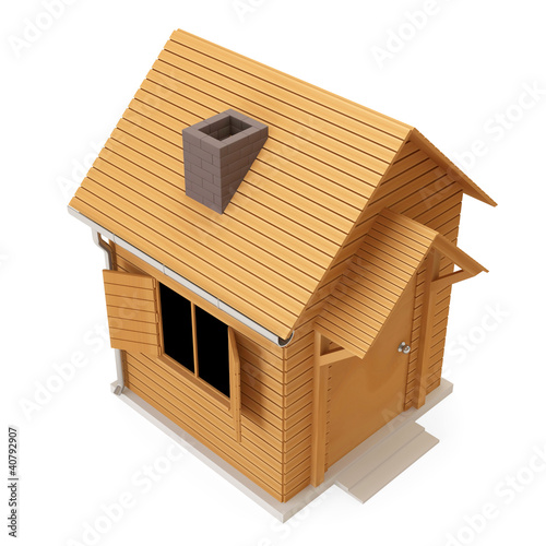 Miniature Wooden house isolated on white background