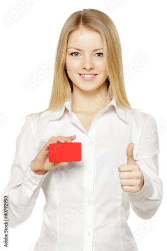 Business woman holding credit card, showing thumb up sign