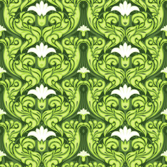 Ornate green floral pattern