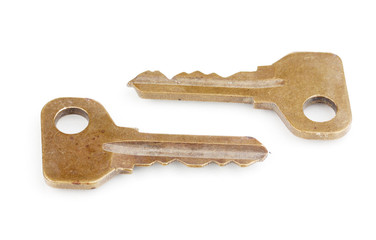 Two metal keys isolated on white