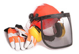 Orange workers helmet gloves and ear protectors poster