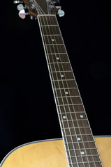 Acoustic Guitar Fretboard On Black