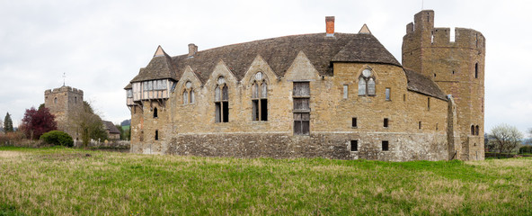 Stokesay Castle in Shropshire on cloudy day