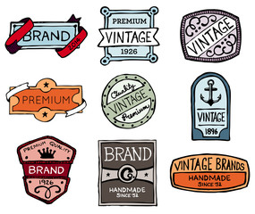 Drawn vintage badges