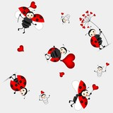 Fototapety seamless pattern with cute ladybird - vector