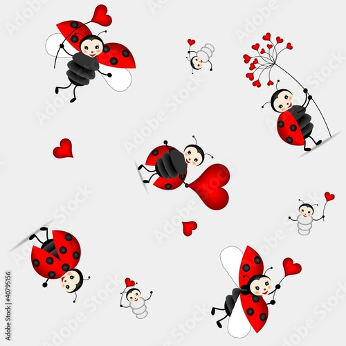 Poster Lieveheersbeestjes seamless pattern with cute ladybird - vector