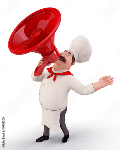 Chef with speaker