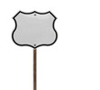 Tall Blank Isolated Interstate Sign on Wood Post