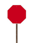 Tall Blank Isolated Stop Sign on Wood Post