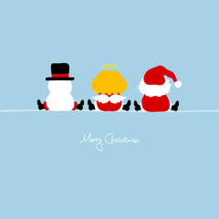 Santa, Angel & Snowman Blue