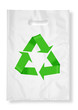 Plastic bag on white with recycle symbol.