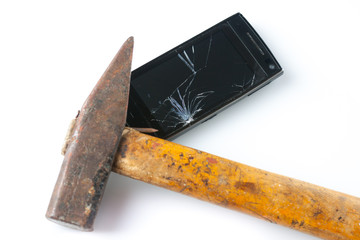 Hammer smashing smart phone
