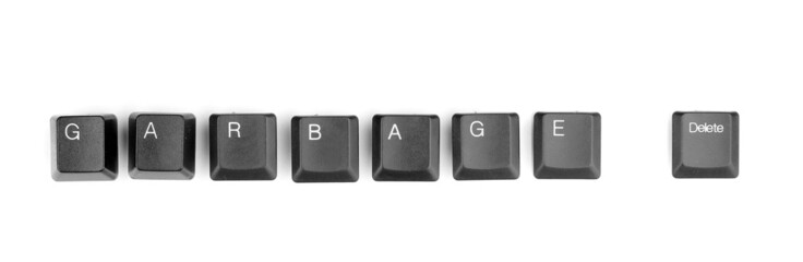 Keyboard keys saying garbage delete isolated on white