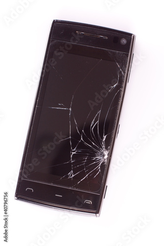 Damaged smart phone on white background