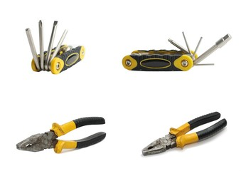 Tools pliers and hexagonal screwdriver