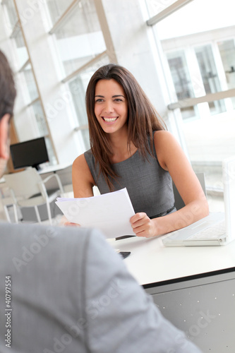 Businesswoman interviewing job applicant