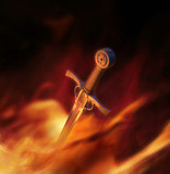 3D illustration of a medieval sword in fire