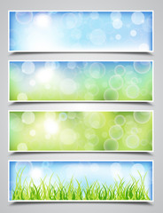 Collection of Spring Banners with Bokeh Effect