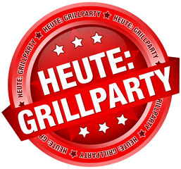 """Button Banner """"Heute: Grillparty"""" rot"""