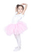 Beautiful little dancer, ballerina in pink dress over white
