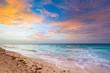 Idyllic beach of Caribbean Sea at sunrise