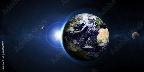 Abstract Illustration of Earth Planet with Rising Sun