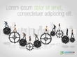 Business people over machine gear wheel. Cogwheel.