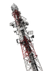 Mobile phone antenna tower is isolated on white