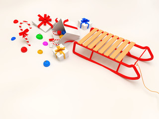 3d Sled with Decorative Christmas Elements on snow