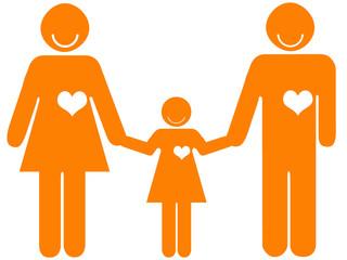 Pais de mãos dadas à filha - família feliz