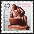 Postage stamp Germany 1988 The Collector, Sculpture by Ernst Bar