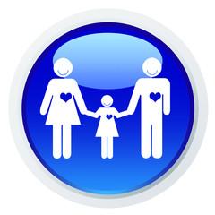 Casal de mãos dadas à filha - ícone azul
