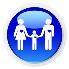 Casal de mãos dadas ao filho - ícone azul