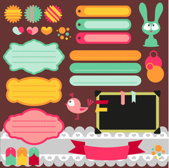 Cute scrapbook elements set