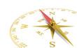 Leinwandbild Motiv Direction. Abstract Perspective view of a compass dial. Brass.