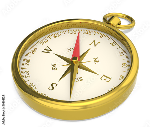 Compass. Brass Compass on white background.