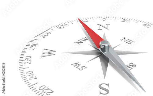 Direction. Abstract Perspective view of a steel compass dial.