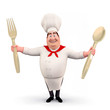 Happy chef with spoons