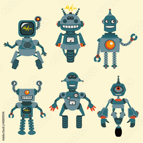 Deurstickers Robots Cute little Robots Collection - in vector - set 1