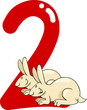 number two and 2 rabbits