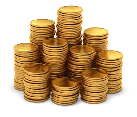 Large group of empty gold coins on white