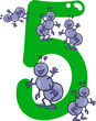 number five and 5 ants