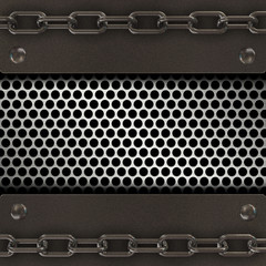 Grange metal background with chain