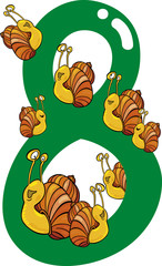 number eight and 8 snails