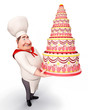 Chef holding a cake