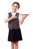 Little waitress standing with tray