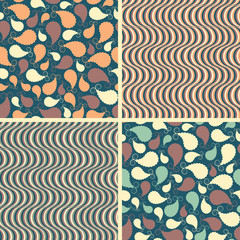 set of abstract patterns in various colors